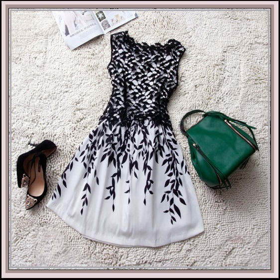Black or White Lace Embroidery Contrast Bodice Over Chiffon Evening Dress