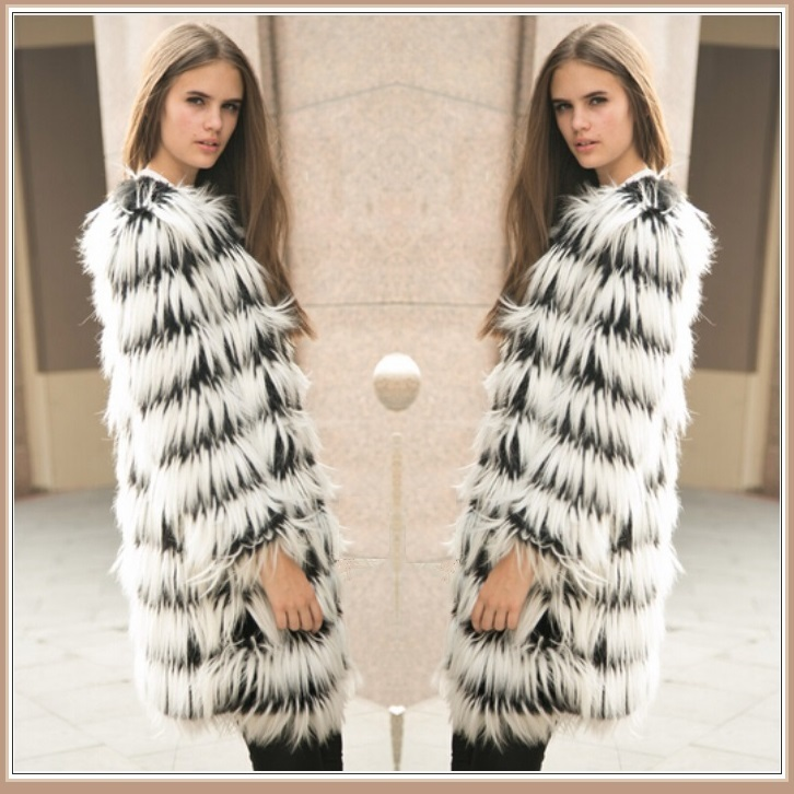 Hairy Shaggy Black and White Long Hair Full Sleeve O Neck Long Faux Fur Coat