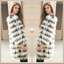 Hairy Shaggy Black and White Long Hair Full Sleeve O Neck Long Faux Fur ... - $159.95