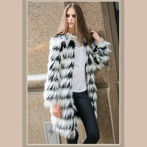 Hairy Shaggy Black and White Long Hair Full Sleeve O Neck Long Faux Fur Coat image 2