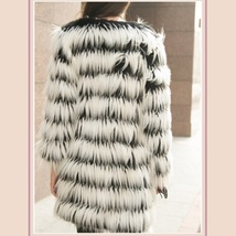 Hairy Shaggy Black and White Long Hair Full Sleeve O Neck Long Faux Fur Coat image 3