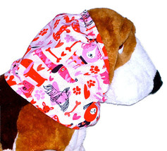 Dog Snood-Puppy Love Pink Red Sparkle Cotton Basset-Spaniel-Afghan-Sette... - $11.50
