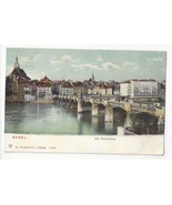 Switzerland Basel Alte Rheinbrucke Old Bridge Rhein River ca 1905 - $5.79