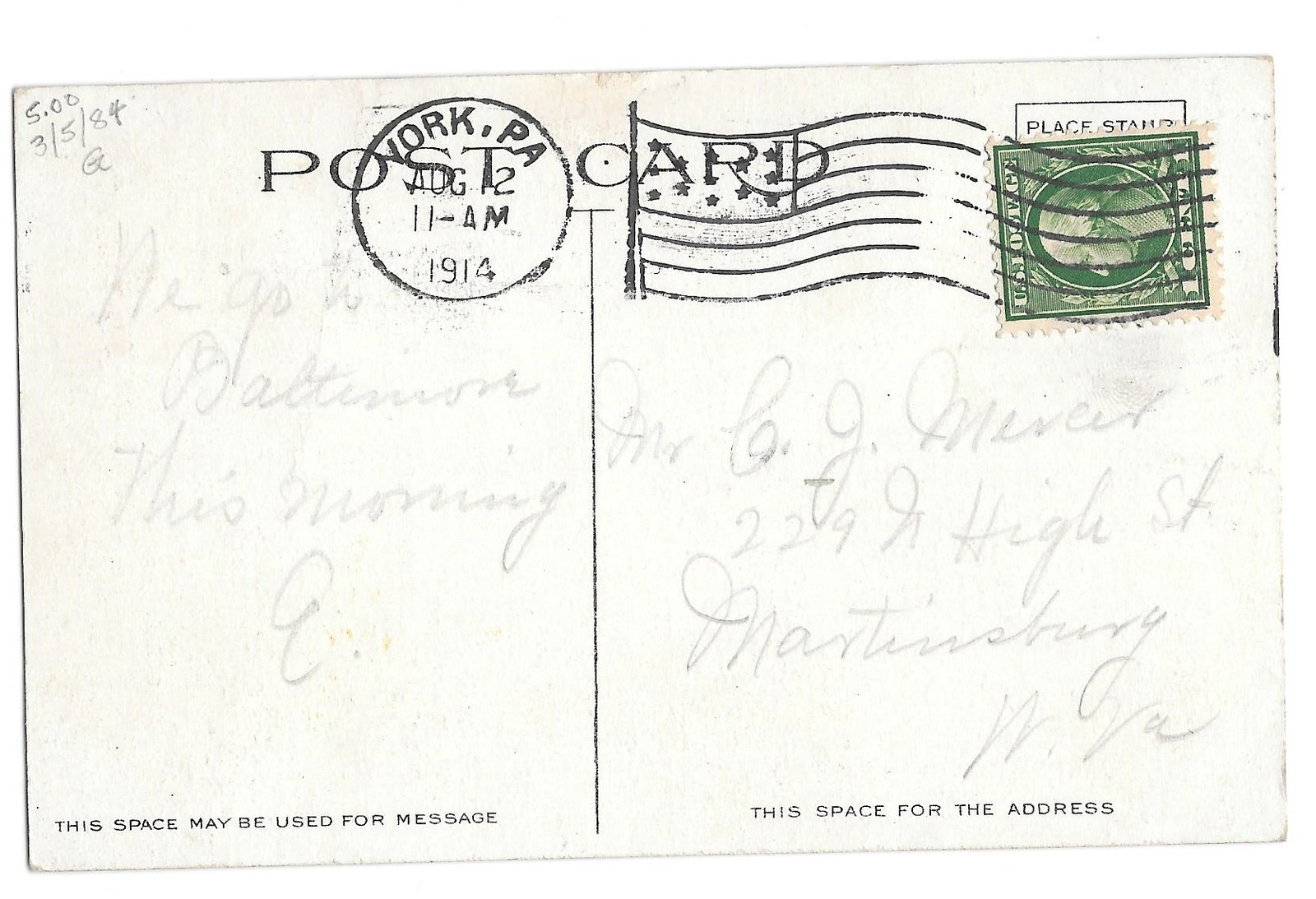 York PA Odd Fellows Hall IOOF King & George St Vintage 1914 Postcard Flag Cancel