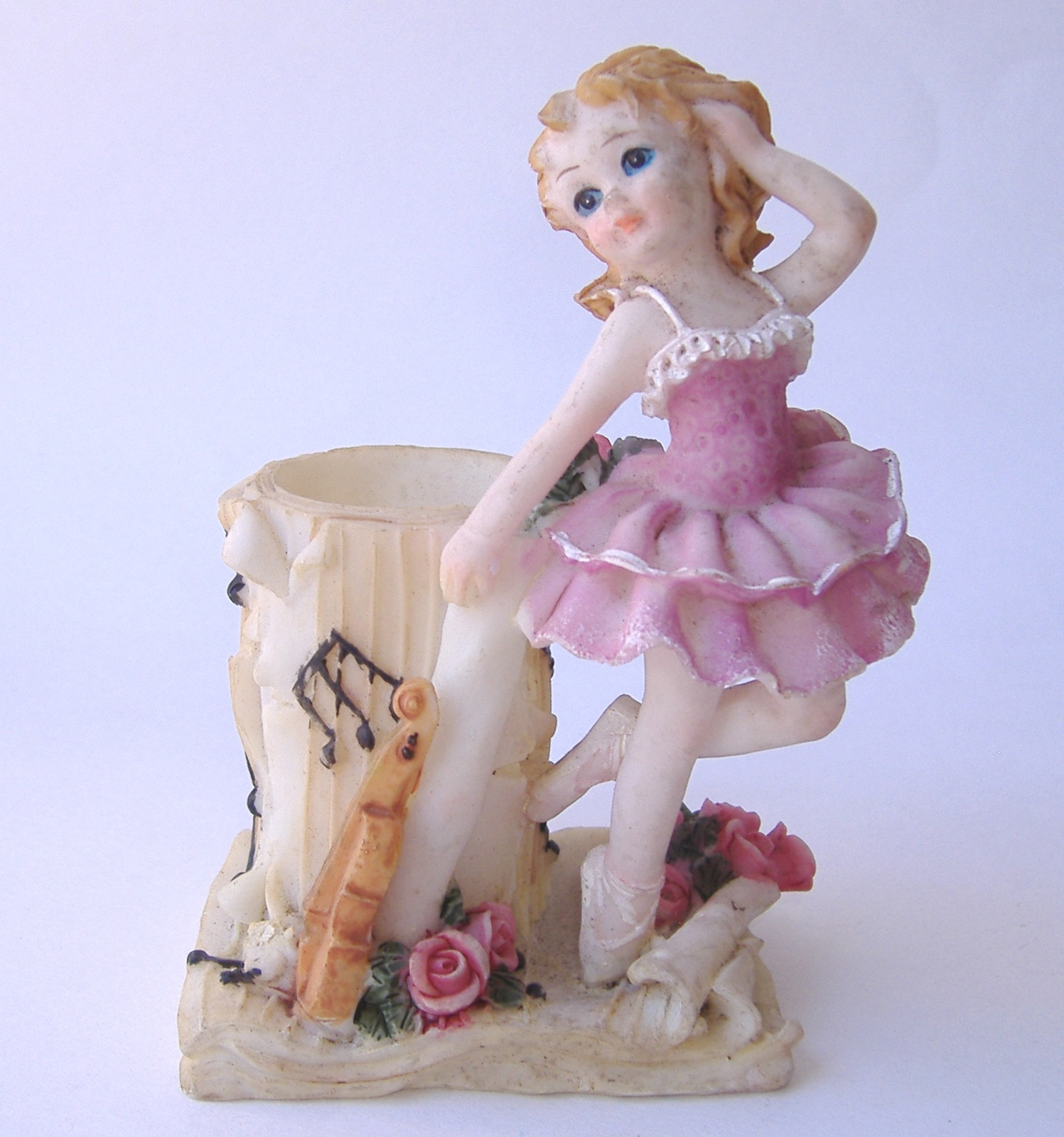 Primary image for Pink Ballerina Figurine Candle Holder Girl Fiddle Music Flower Vase Home Decor