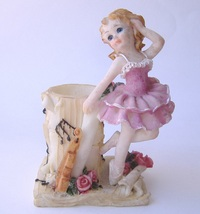 Pink Ballerina Figurine Candle Holder Girl Fiddle Music Flower Vase Home... - $24.00