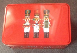 Christmas Holiday Red Toy Soldier Snowflake Drum Rectangle Cookie Gift Tin - $3.00