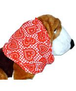 Dog Snood-Valentine Bandana Print Hearts Checks Cotton Basset-Setter-Small - $11.50