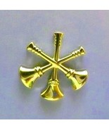 Assistant Fire Chief Collar Pin Device 3 Crossed Bugles 2 Piece Set Gold... - $15.65