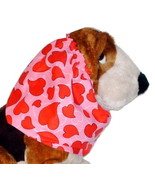 Dog Snood-Valentines Curvy Hearts Pink Red Cotton-Afghan-Spaniel-Puppy R... - $10.50