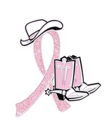 Breast Cancer Lapel Pin Cowgirl Cowboy Western Boots Hat Pink Glitter Ri... - $13.55