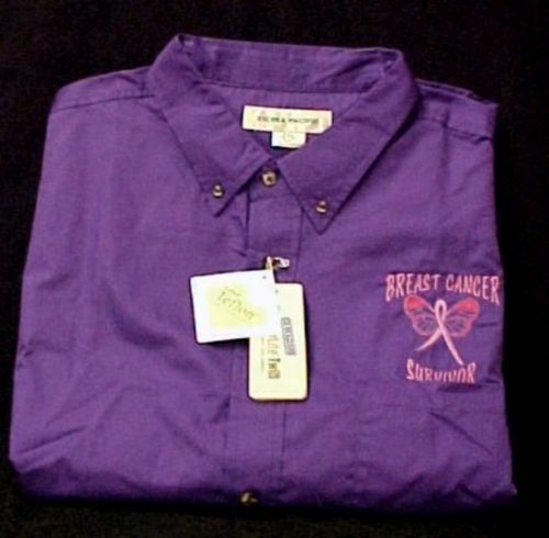 Breast Cancer Survivor Butterfly Purple Twill L/S Shirt Medium New - $35.86