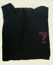 Celebrate Life Pink Purple Heart Ribbon Navy Dark Blue Hoodie Sweatshirt 5X New - $40.29