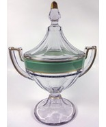"""1920s Westmoreland Glass Clear Crystal w/ Green Band Colonial 11""""t Cover... - $79.99"""