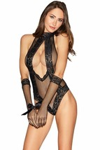 SEAMLESS FISHNET COLLARED TEDDY WITH TIE NECK CLOSURE G-STRING & GLOVES - $27.71