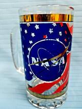 NASA Design Heavyweight Glass Tanker Stein Tumbler Highball Beer Mug Blu... - $29.95
