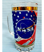 NASA Design Heavyweight Glass Tanker Stein Tumbler Highball Beer Mug Blu... - $29.95