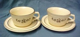 Pfaltzgraff Village Tan Brown Vintage 2 Cups & Saucers Coffee Tea Pottery - $12.58