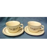 Pfaltzgraff Village Tan Brown Vintage 2 Cups & Saucers Coffee Tea Pottery - $12.58