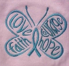 Teal Hope Courage Butterfly Pink Crew Neck S/S T Shirt Ovarian Cancer Med New - $19.77