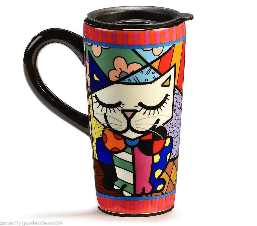 Romero Britto Collectible Travel Mug White Cat 16 oz Dolomite in Giftbox