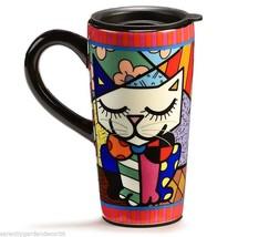 Romero Britto Collectible Travel Mug White Cat 16 oz Dolomite in Giftbox