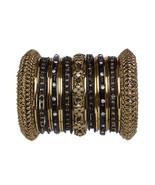 Indian Bridal Wedding Gift Bangles Set Black Gold Size 2.4 extra small - $29.99