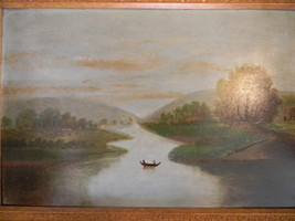 Antique oil painting on Academy Board - Hudson River - $1,200.00