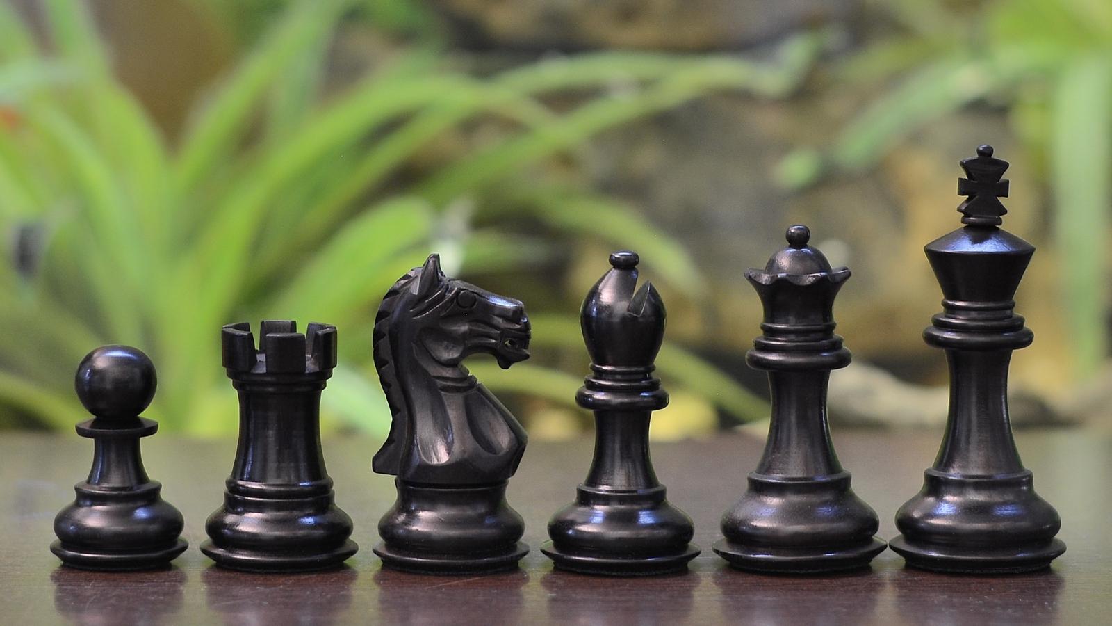 "Fierce Knight Staunton Wooden Chess Pieces In Ebony/Box Wood - 3.0""- SKU:M0009"