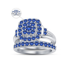 14k White Gold Finish 925 Sterling Silver Blue Sapphire Womens Bridal Ring Set - $92.99