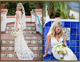 Romantic Virgin White Floral Lace over Satin Trumpet Mermaid Wedding Gown