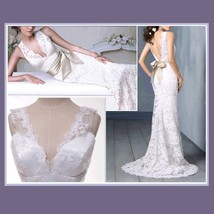Romantic Virgin White Floral Lace over Satin Trumpet Mermaid Wedding Gown image 2