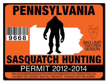 Sasquatch hunting permit license decal sticker yamaha ford for Pa fishing license prices