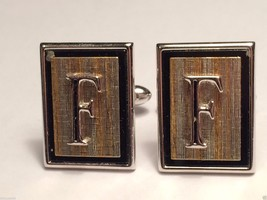 Vintage Swank Silver & Gold Toned Initial Letter F Cufflinks cuff links - $24.74