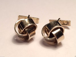 Vintage Swank Silver Toned Medium Knot Cufflinks cuff links - $24.74