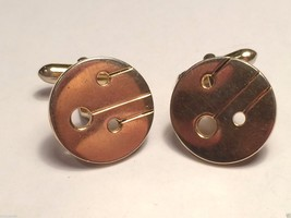 Vintage Swank Gold Toned Art Deco Round Designed Cufflinks cuff links - $23.36