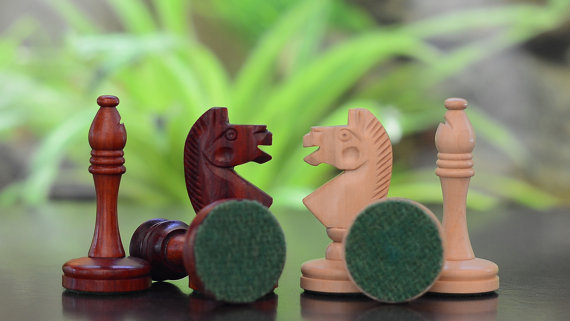 """Castle Series Hand Crafted Chess Pieces in Bud Rose/Box Wood - 3.4"""" - SKU: M0002"""