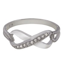 Sterling Silver ring size 8 CZ Round cut Infinity Engagement Eternity New v20 - $12.49