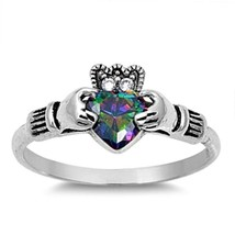 Sterling Silver Claddagh ring size 8 CZ Heart Crown Mystic Topaz Irish New v27 - $12.58