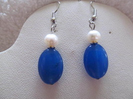 EARRINGS, BLUE STONE WITH WHITE PEARL  in silver - £3.70 GBP