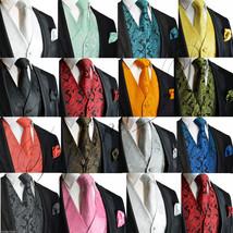 XS to 6XL Men's Paisley Dress Vest Waistcoat & Necktie Set for Suit or Tuxedo - $22.71+