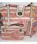 Coach Audrey Sea Shell Sequin Tote Limited Edition Beach Tote #19576 Wristlet  - $525.00