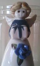 Bell Ceramic Dinner Bell Angel Blue Rose Bearing a Gift Easter Dinner Ba... - $16.99