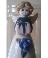 Bell Ceramic Dinner Bell Angel Blue Rose Bearing a Gift Easter Dinner Baby Boy - $16.99