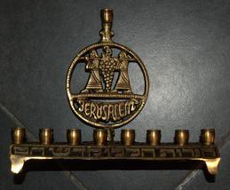 Judaica Menorah Hanukkah Vintage Israel Copper Alloy Biblical Spies Carry Grapes image 4