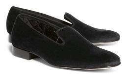 Men black velvet loafer slippers shoes, Mens black velvet leather shoes, - $139.99