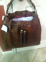 COACH Madison Large Drawstring Bag Croc Embossed Leather 26341 Cognac Re... - $789.99