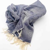 Purple Pattern Tassel Fringe Silk Scarf Made in India - $18.53