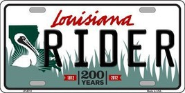 Rider Louisiana Novelty Metal License Plate LP-6213 - $13.40