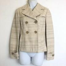 Banana Republic Womens Size 4 silk cotton two-button cream Blazer career... - $24.74